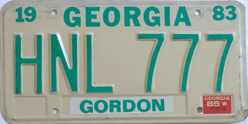 1985 Georgia  (Natural) license plate for sale