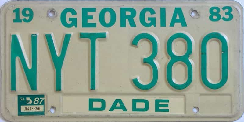 YOM 1987 Georgia  (Natural) license plate for sale