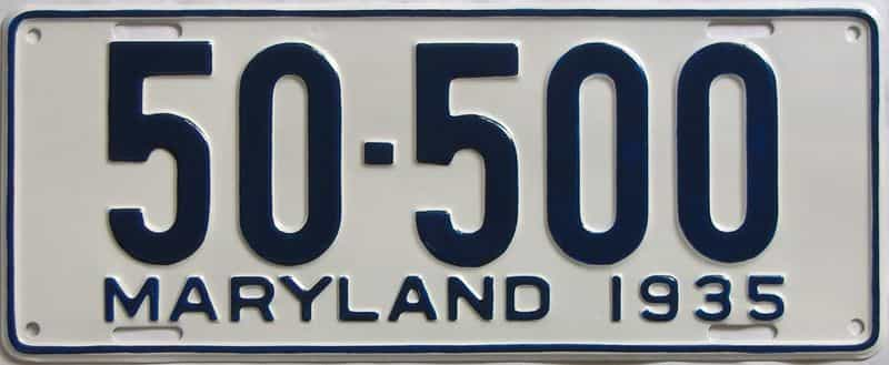 RESTORED 1935 Maryland  (Single) license plate for sale