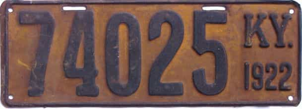 1922 Kentucky (Single) license plate for sale