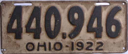 1922 Ohio (Single) license plate for sale
