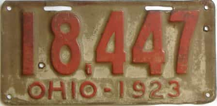 1923 Ohio  (Single) license plate for sale