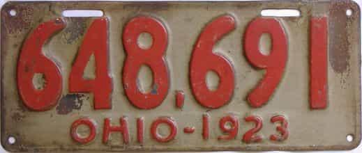 1923 Ohio (Single) license plate for sale