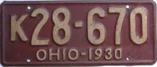 1930 Ohio (Single) license plate for sale
