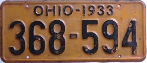 1933 Ohio (Single) license plate for sale