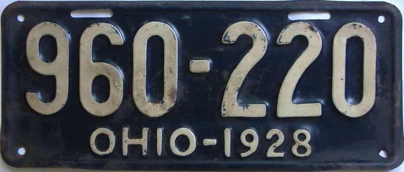 1928 Ohio (Single) license plate for sale