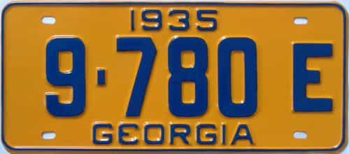 YOM RESTORED 1935 Georgia (Single) license plate for sale