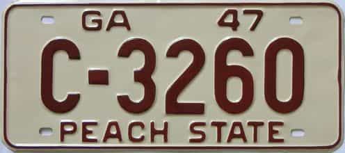 YOM RESTORED 1947 Georgia license plate for sale