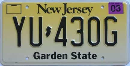 2003 New Jersey (Single) license plate for sale