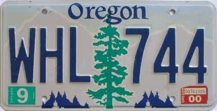 2000 Oregon (Single) license plate for sale