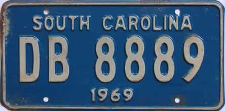 1969 South Carolina (Single) license plate for sale