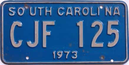 1973 South Carolina (Single) license plate for sale