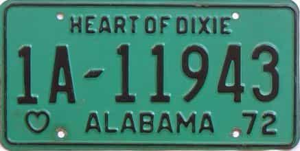 1972 Alabama license plate for sale