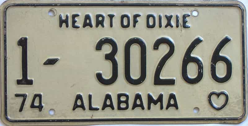 1974 Alabama license plate for sale