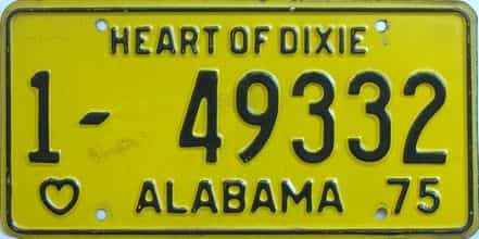 1975 Alabama license plate for sale