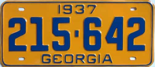 YOM RESTORED 1937 Georgia (Single) license plate for sale