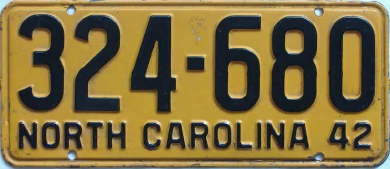 1942 North Carolina license plate for sale