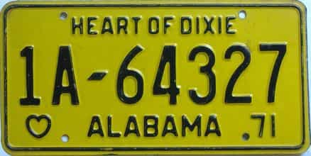 1971 Alabama license plate for sale