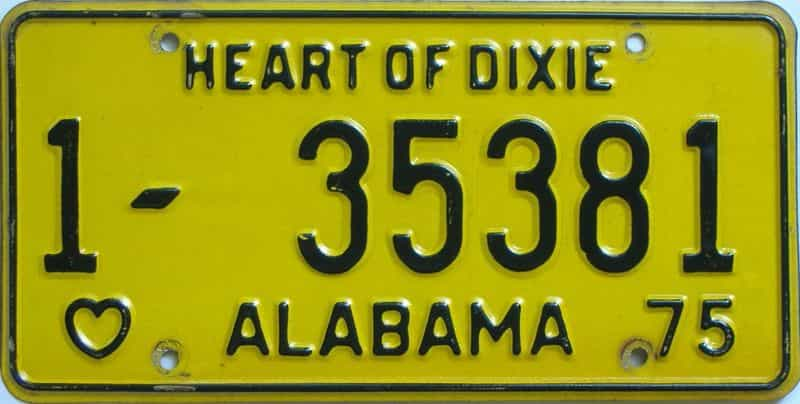 1975 Alabama license plate for sale