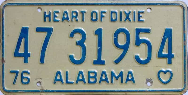 1976 Alabama license plate for sale