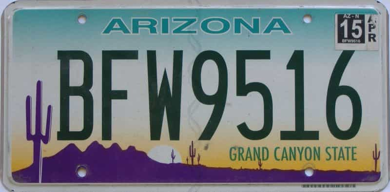 2015 Arizona license plate for sale