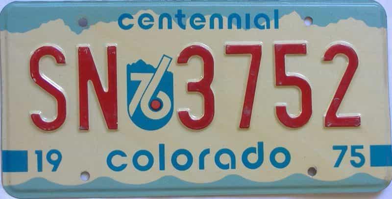 1975 Colorado  (Single) license plate for sale
