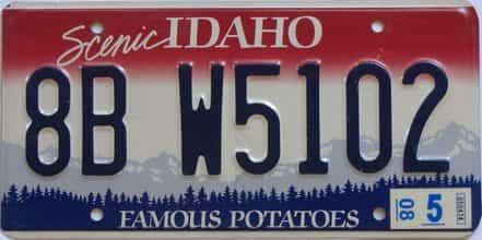 2008 Idaho (Single) license plate for sale