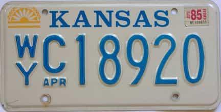1985 Kansas license plate for sale
