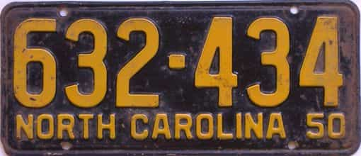 1950 North Carolina (Single) license plate for sale