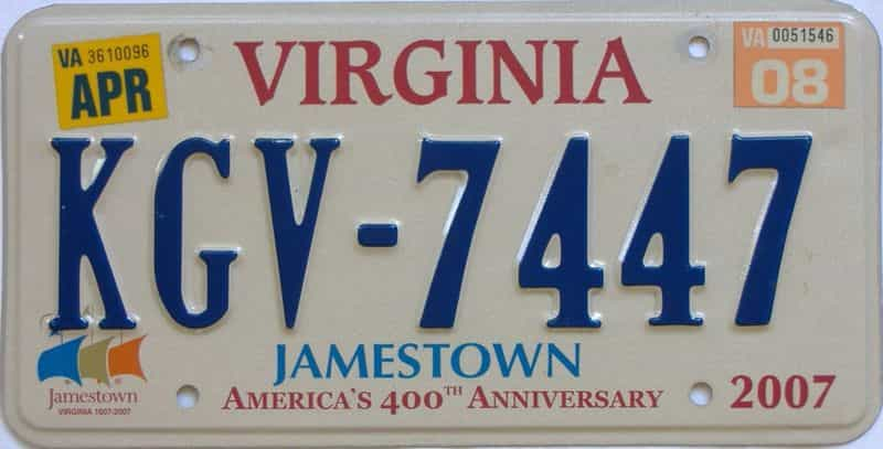 2008 Virginia (Natural Single) license plate for sale