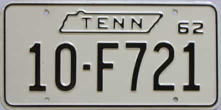 1962 Tennessee (Single) license plate for sale