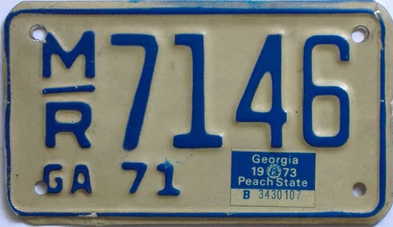 YOM 1973 Georgia  (Motorcycle) license plate for sale