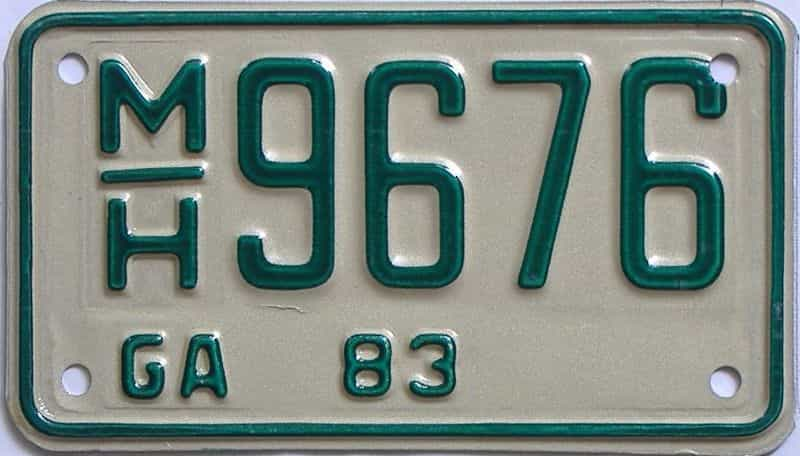 YOM 1983 Georgia YOM 1971 - 1989  (Motorcycle) license plate for sale