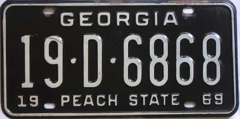 YOM 1969 Georgia (Houston) license plate for sale