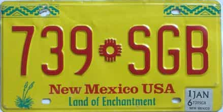 2016 New Mexico (Natural) license plate for sale