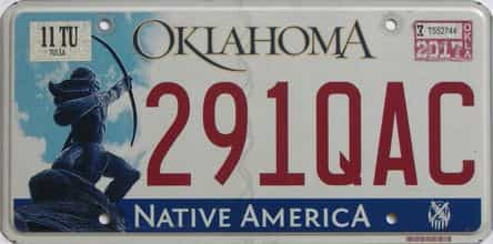 2017 Oklahoma (Natural) license plate for sale