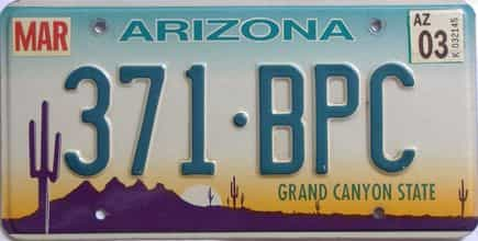 2003 Arizona license plate for sale