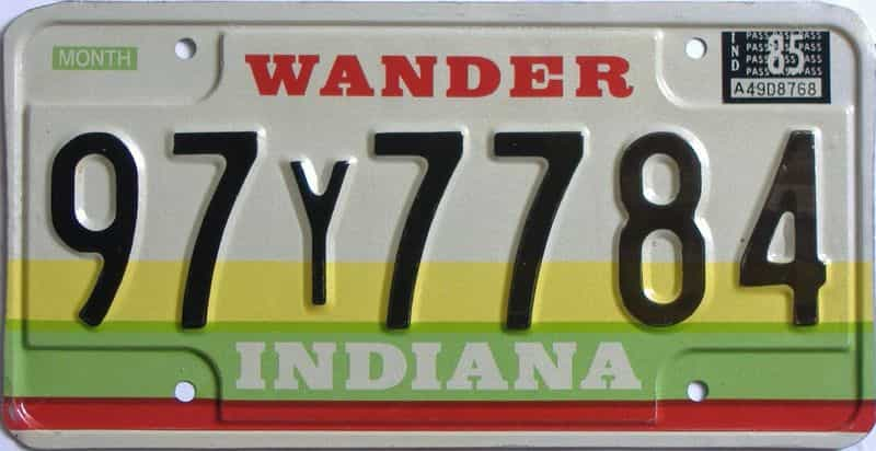 1985 Indiana license plate for sale
