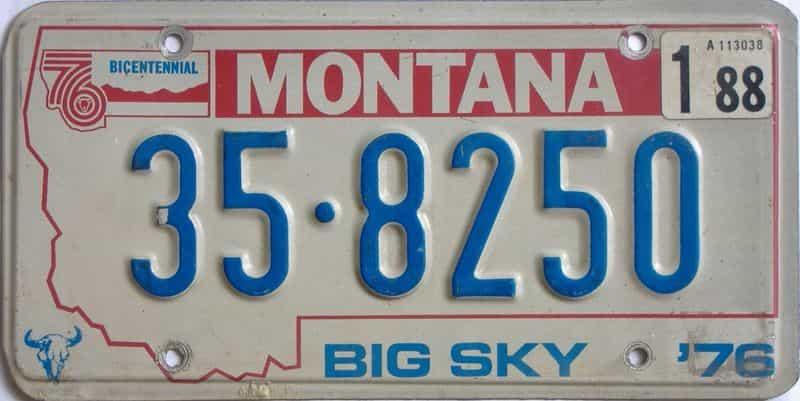 1988 Montana  (Single) license plate for sale