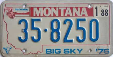 1988 Montana (Single) license plate for sale