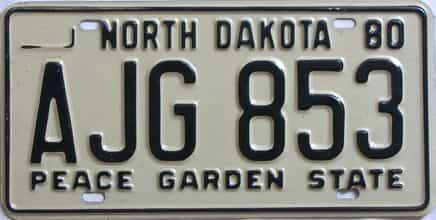 1980 North Dakota (Single) license plate for sale