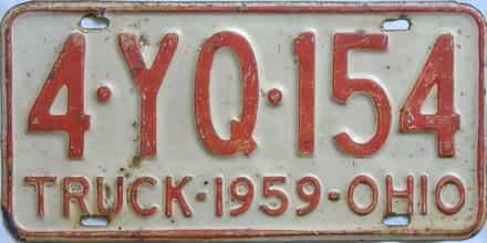 1959 Ohio (Truck) license plate for sale