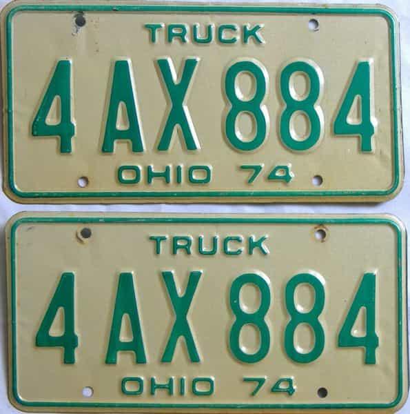 1974 Ohio  (Truck) license plate for sale