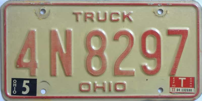 1980 Ohio  (Truck) license plate for sale