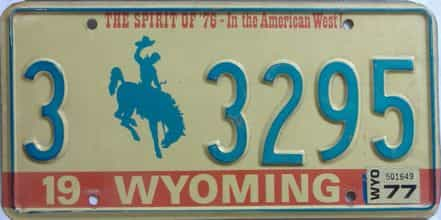 1977 Wyoming (Single) license plate for sale