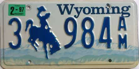 1997 Wyoming (Single) license plate for sale