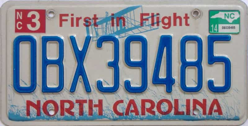 2014 North Carolina license plate for sale