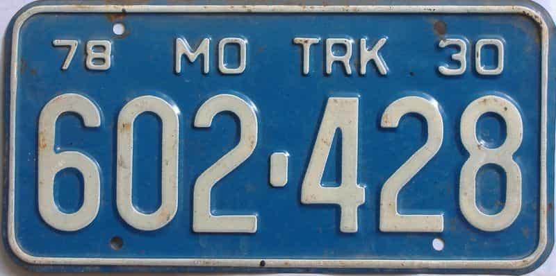 1978 Missouri  (Truck) license plate for sale