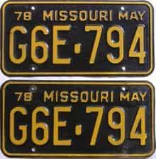 1978 Missouri (Pair) license plate for sale