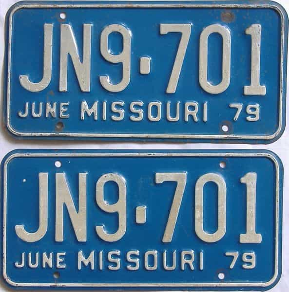 1979 Missouri  (Pair) license plate for sale
